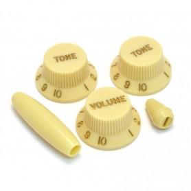 Kit 5 boutons US Stratocaster vieux crème