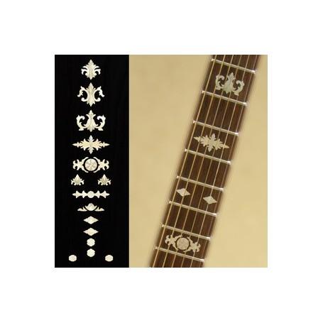 Sticker guitare touche vieux banjo blanc abalone