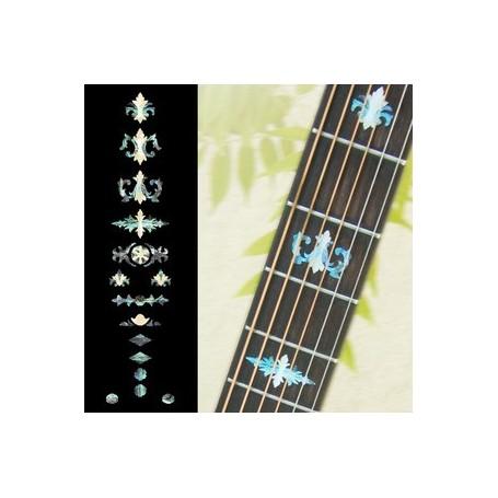 Sticker guitare touche vieux banjo bleu abalone
