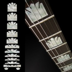 Sticker guitare touche courone blanc abalone