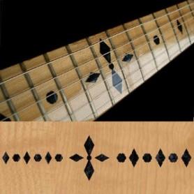 Sticker guitare touche checker noir pearl