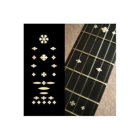 Sticker guitare touche vintage flocons vieux blanc pearl