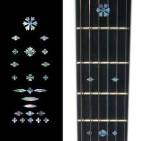 Sticker guitare touche vintage flocons bleu abalone