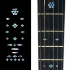 Sticker guitare touche vintage flocons bleu abalone