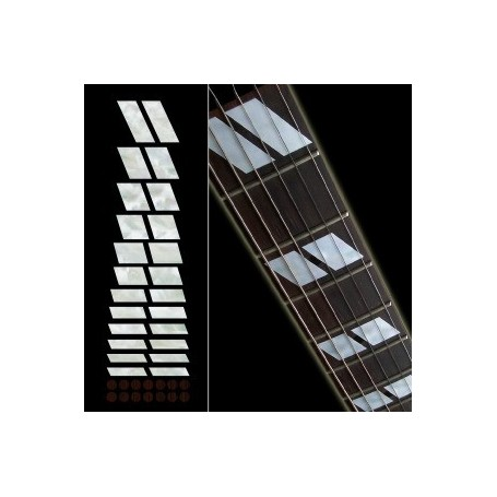 Sticker guitare touche type Gibson Es-175 blanc abalone