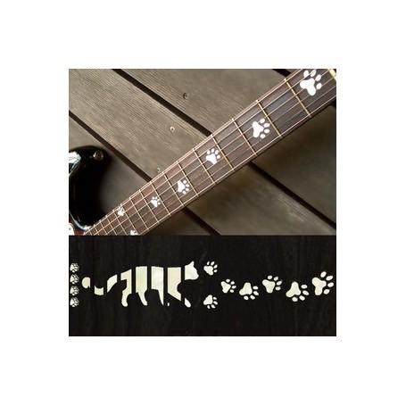Sticker guitare touche pas de chat blanc abalone
