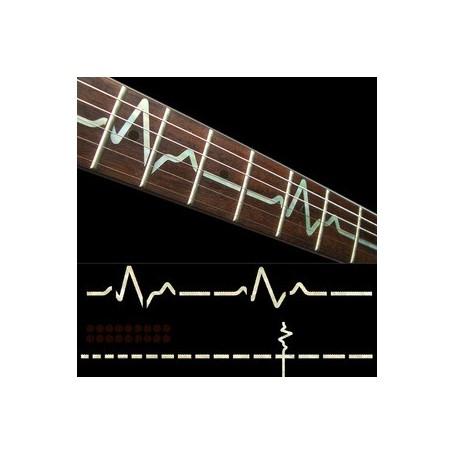 Sticker guitare touche rythme cardiaque blanc abalone