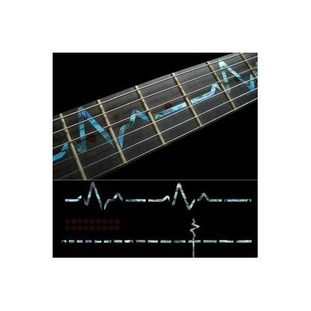 Sticker guitare touche rythme cardiaque bleu abalone