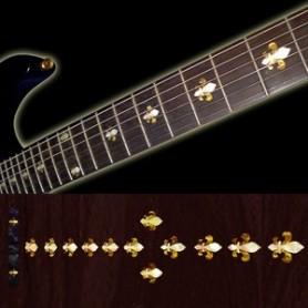 Sticker guitare touche fleur-de-lis blanc abalone