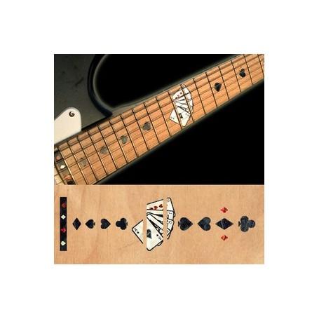 Sticker guitare touche jeu de cartes noir pearl