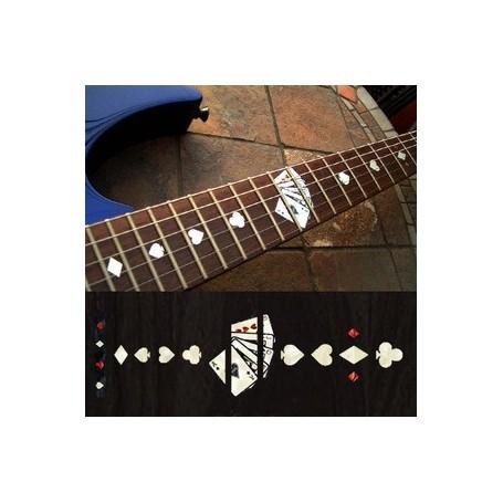 Sticker guitare touche jeu de cartes blanc abalone