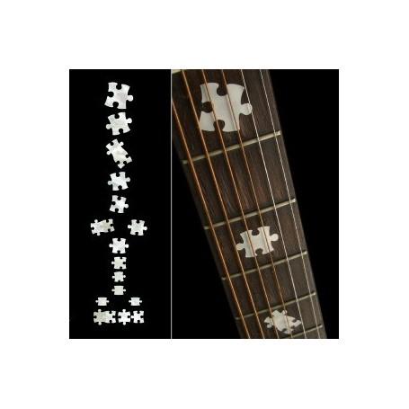 Sticker guitare touche pièces puzzle blanc abalone