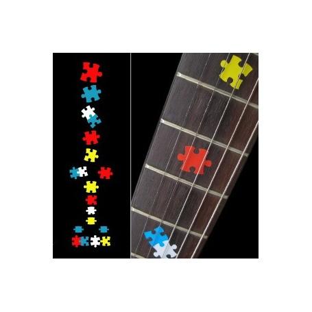 Sticker guitare touche pièces puzzle colorees