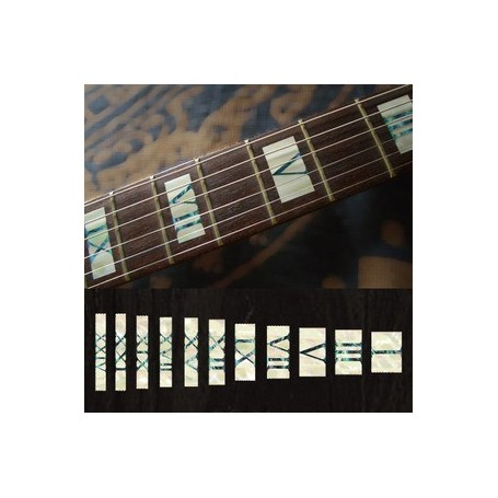 Sticker guitare touche chiffres romain blanc abalone