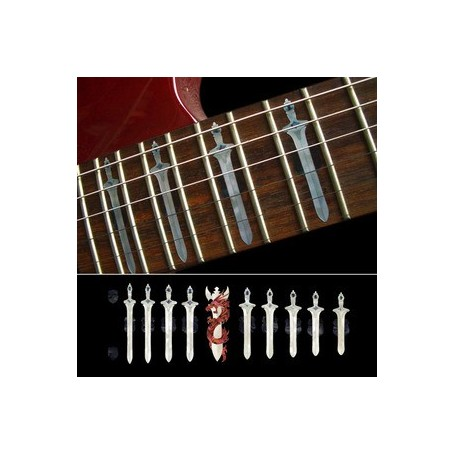 Sticker guitare touche épée et dragon blanc