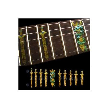 Sticker guitare touche épée et dragon or
