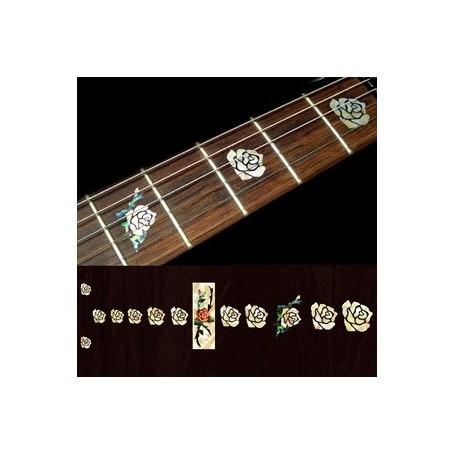 Sticker guitare touche rose vieux blanc pearl