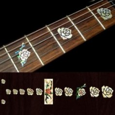 Sticker guitare touche rose vieux blanc pearl