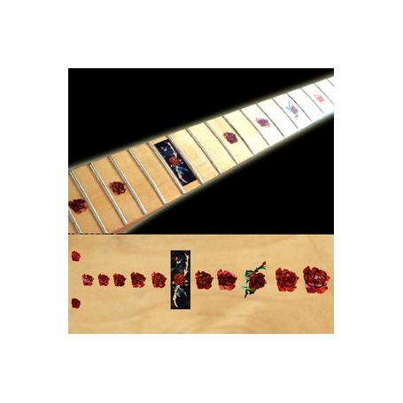 Sticker guitare touche rose rouge abalone