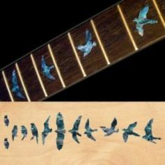 Sticker guitare touche oiseaux bleu abalone
