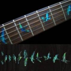 Sticker guitare touche oiseaux vert abalone