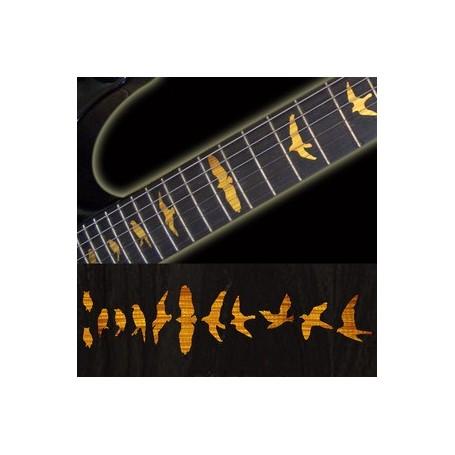 Sticker guitare touche oiseaux tobacco