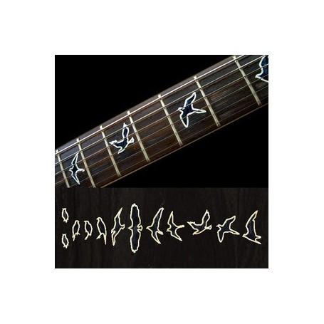 Sticker guitare touche oiseaux noir pearl contour