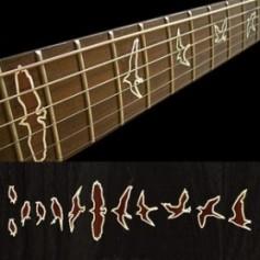Sticker guitare touche oiseaux bois contour