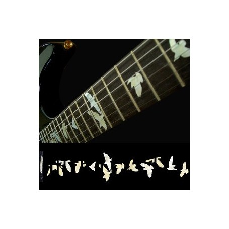 Sticker guitare touche oiseaux en vol blanc abalone