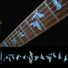 Sticker guitare touche oiseaux en vol bleu abalone