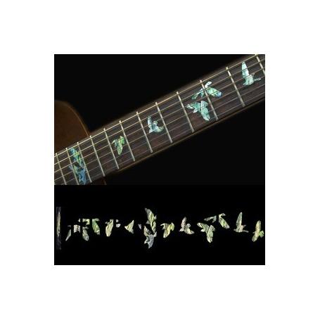 Sticker guitare touche oiseaux en vol vert abalone