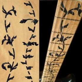 Sticker guitare touche végétal noir pearl