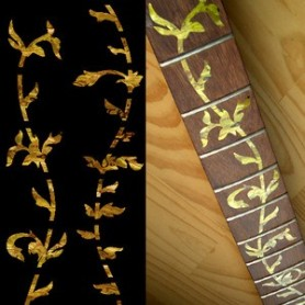 Sticker guitare touche végétal jaune abalone