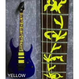 Sticker guitare touche végétal jaune