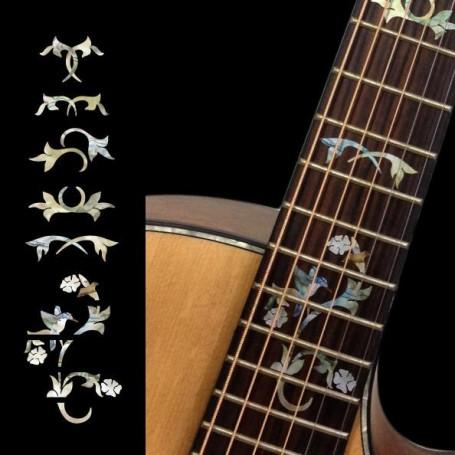 Sticker guitare touche vigne et oiseau