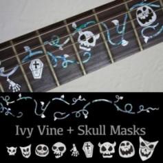 Sticker guitare touche lierre et masques