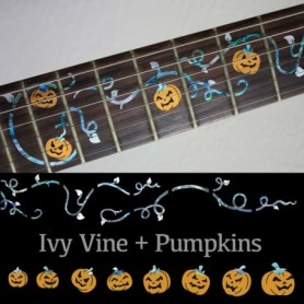 Sticker guitare touche lierre et citrouilles