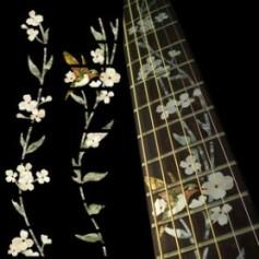 Sticker guitare touche végétal fleur & oiseau