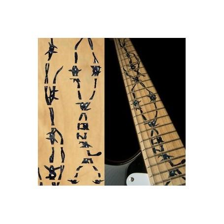 Sticker guitare touche fil barbelé noir pearl