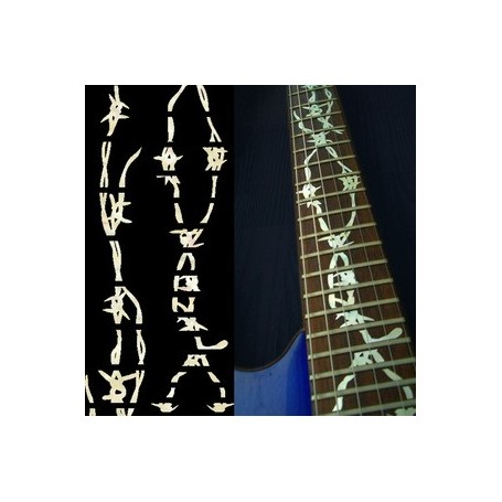 Sticker guitare touche fil barbelé blanc abalone