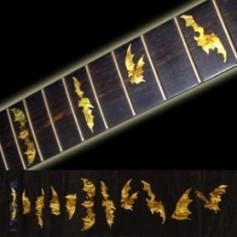Sticker guitare touche chauve souris jaune abalone