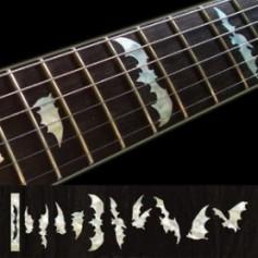 Sticker guitare touche chauve souris blanc abalone