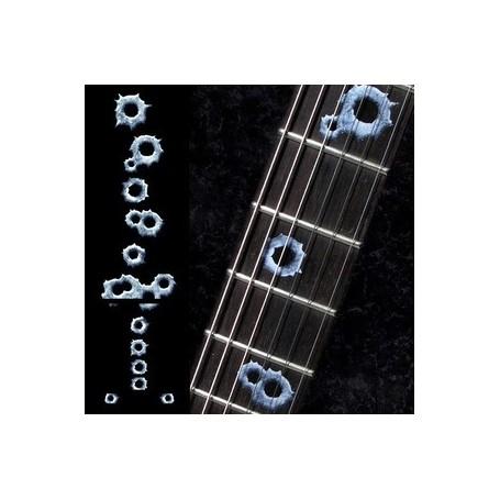 Sticker guitare touche impact de balles