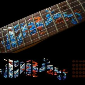 Sticker guitare touche dragon bleu abalone