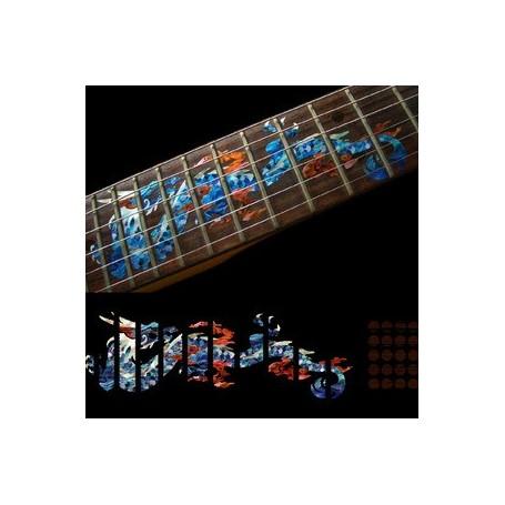 Sticker guitare touche dragon bleu abalone