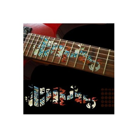 Sticker guitare touche dragon blanc abalone