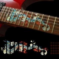 Sticker guitare touche dragon blanc abalone