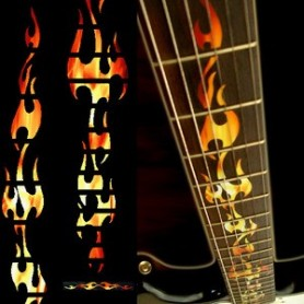 Sticker guitare touche flammes
