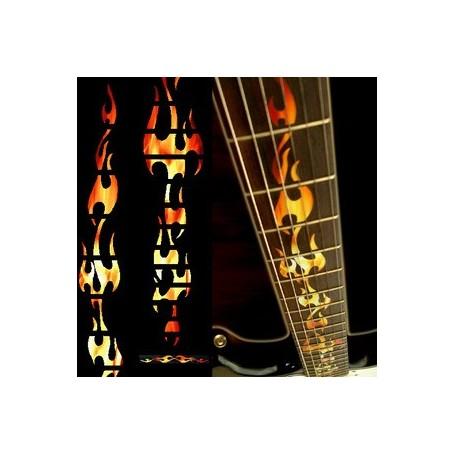 Sticker guitare touche flammes