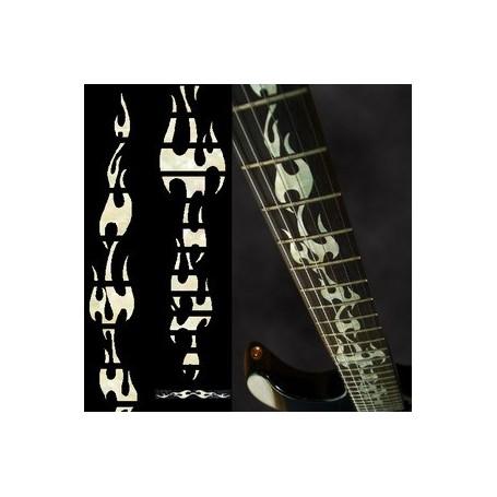 Sticker guitare touche flammes blanc abalone